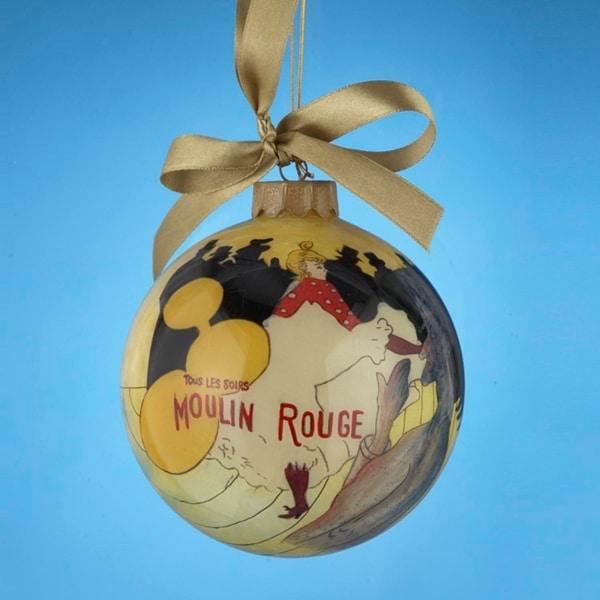 "Moulin Rouge: La Goulue Hand-Painted Glass Christmas Ball Ornament 4"" (100mm) - multi"