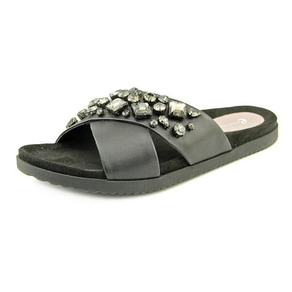Easy Spirit Marvina Women Open Toe Leather Black Slides Sandal