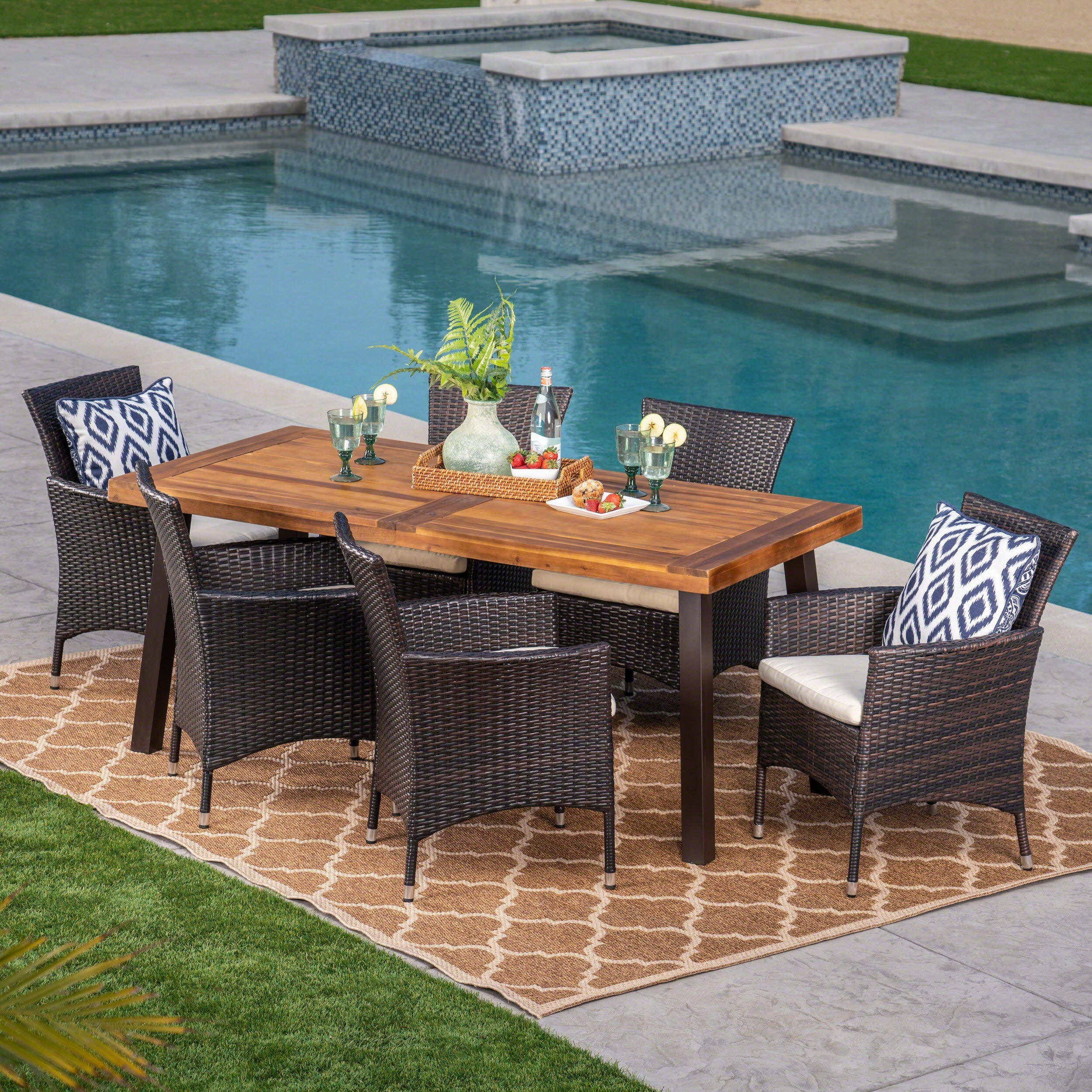 Tustin Outdoor 7 Piece Acacia Wicker Dining Set By Christopher Knight Home On Sale Overstock 21079715