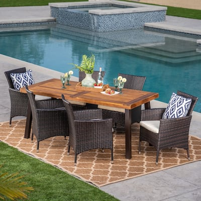 Tustin Outdoor 7-piece Acacia/Wicker Dining Set by Christopher Knight Home
