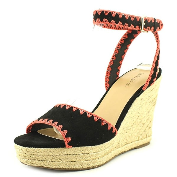 Indigo Rd. Hevanly Women Open Toe Canvas Black Wedge Sandal