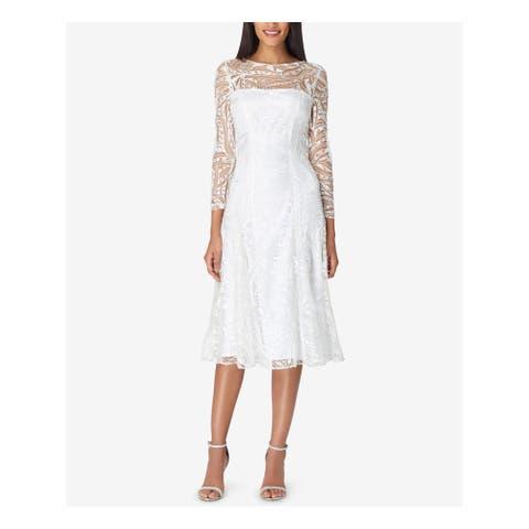 TAHARI Womens Ivory Long Sleeve Midi Sheath Formal Dress Size 14