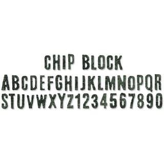 """Sizzix Sizzlits Decorative Strip Die By Tim Holtz-Chip Block Alphabet 12.625""""X2.375"""""""
