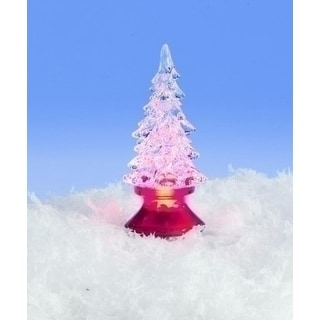 """4"""" Icy Crystal Battery Operated LED Lighted Christmas Tree Figure"""