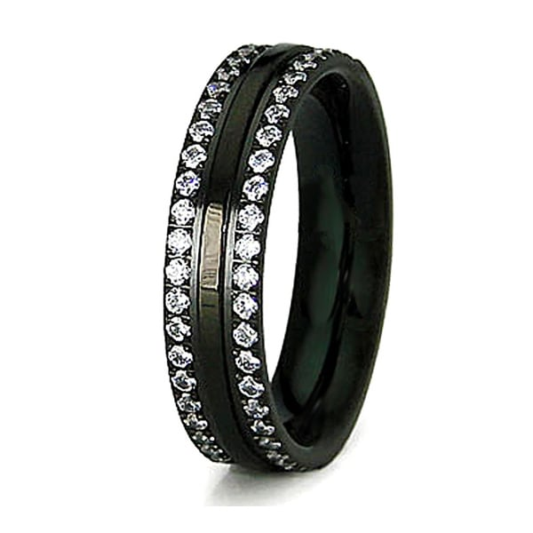 5mm Stainless Steel Black Plated Ring with CZ Accents (Sizes 6-8)