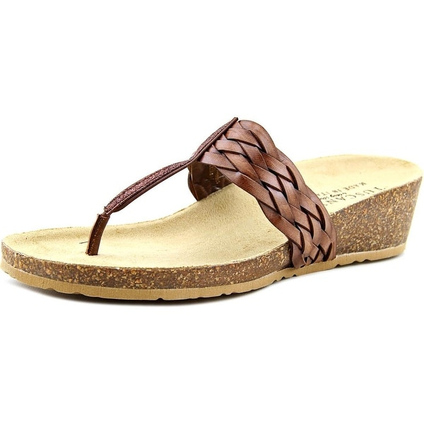 Easy Street Bene Women Open Toe Synthetic Brown Thong Sandal