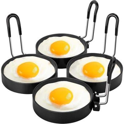 Urbanstrive 100% Non Stick Eggs Rings 4 Pack Stainless Steel Egg Cooking Rings Pancake Mold for frying Eggs and Omelet, Black