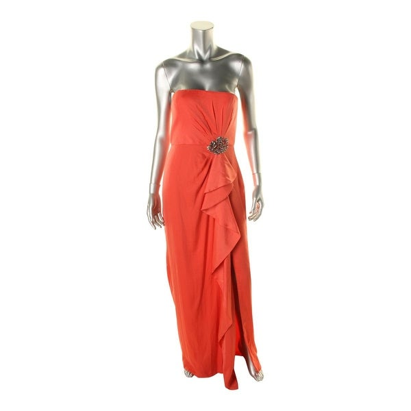 BCBG Max Azria Womens Ila Evening Dress Cascade Ruffle Pleated - 8