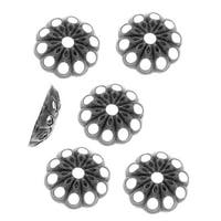 Antiqued Silver Plated Openwork Daisy Bead Caps - 6mm (50)