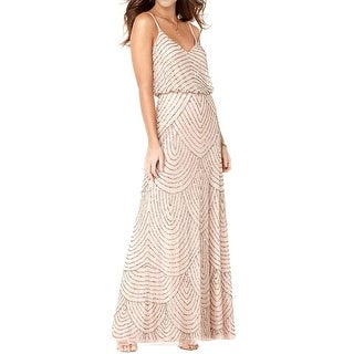 Adrianna Papell Womens Formal Dress Mesh Sequined - 8