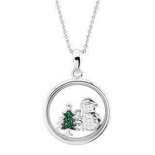 Snowman & Christmas Tree Holiday Shaker Pendant with Crystals in Sterling Silver