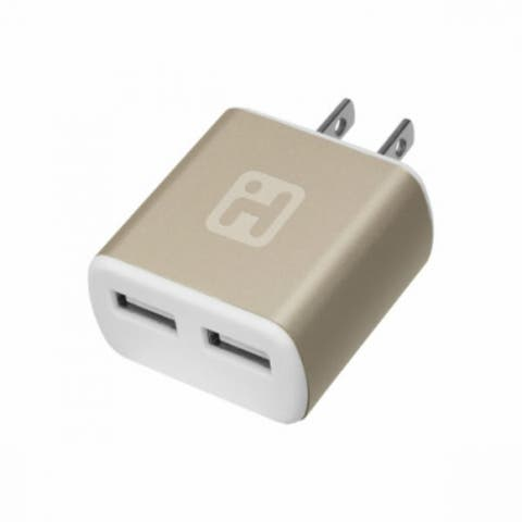 iHome IH-CT561AD Wall Charger with 2-USB Input, Gold Tone, 2.1 Amp
