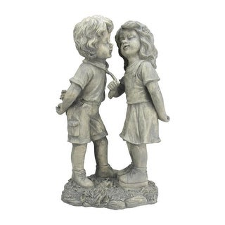 "18.5"" Weathered Gray Stone Boy & Girl First Kiss Outdoor Patio Garden Statue"