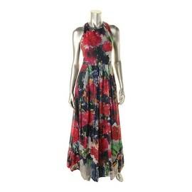 Phoebe Womens Printed Silk Maxi Dress - 4