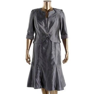 Dana Kay Womens Shimmer Sleeveless Dress With Jacket - 14