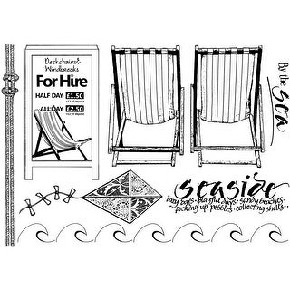 """Crafty Individuals Unmounted Rubber Stamp 4.75""""X7"""" Pkg-By The Sea"""