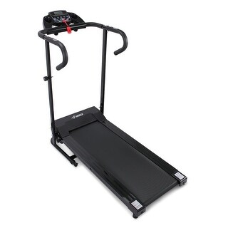 AKONZA 1100W Electric Folding Treadmill Motorized Power Running Fitness Machine with Built-in Cup Holder, Black
