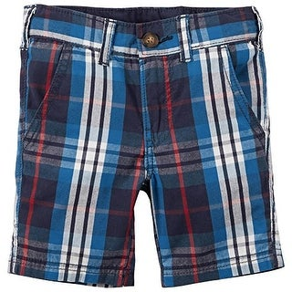 Carter's Baby Boys' Blue Plaid Flat Front Button Shorts- 6 Months