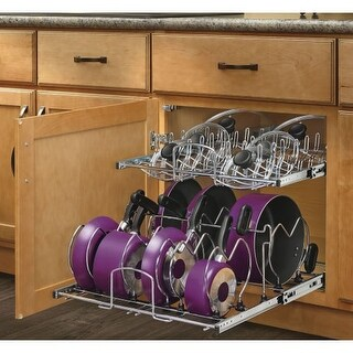 "Rev-A-Shelf 5CW2-2122SC 5CW2 Series 21"" Wide Two Tier Pull Out Cookware Organizer with Soft Close Slides for 24"" Base Cabinet"