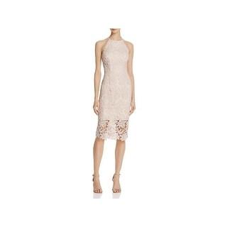 Keepsake Womens Cocktail Dress Lace Overlay Halter