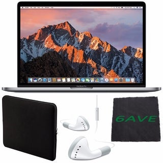 "Apple 15.4"" MacBook Pro with Touch Bar (Space Gray) #MPTR2LL/A + White Wired Headphones + Padded Case + Fibercloth Bundle"