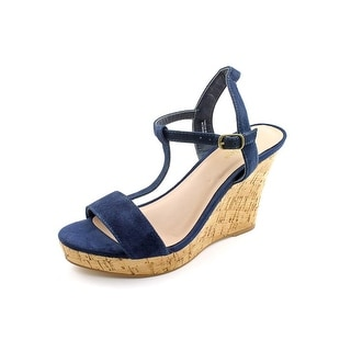Charles By Charles David Libra Women Open Toe Suede Blue Wedge Sandal