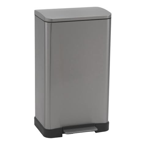 Household Essentials 45L Lase Step Trash Can Bin, Stainless Steel