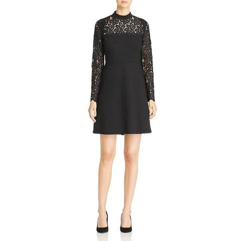 Elie Tahari Womens Scuba Dress Lace Mock Neck