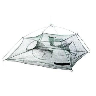 Unique Bargains 35  x 35  x 17.7  Nylon Metal Umbrella Crab Bait Cast Lures Dip Fishing Net Shrimp Green Silver Tone