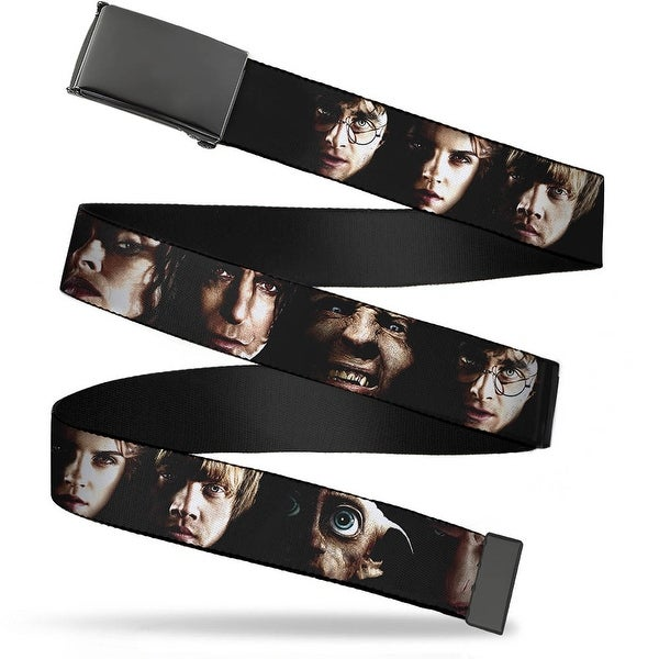 "Blank Black 1.25"" Buckle Harry Potter 8 Character Faces Close Up Webbing Web Belt 1.25"" Wide - M"