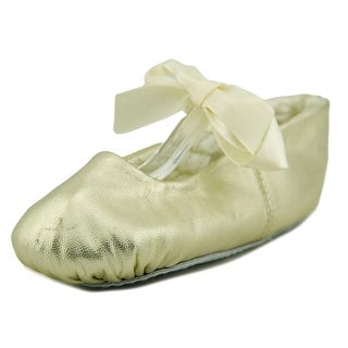 Designer's Touch Sabrina Youth Round Toe Leather Gold Ballet Flats
