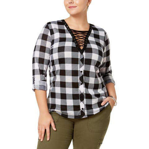 Derek Heart Womens Plus Button-Down Top Plaid Lace-Up
