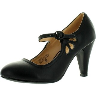Chase & Chloe Kimmy-21 Women's Round Toe Pierced Mid Heel Mary Jane Style Dress Pumps (More options available)