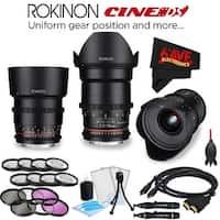 Rokinon 20mm T1.9 Cine DS Lens for Sony E DS20M-NEX + Rokinon 35mm T1.5 Cine DS Lens for Sony E-Mount DS35M-NEX Bundle