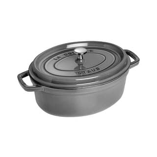 Staub Cast Iron 4.25-qt Oval Cocotte - Graphite Grey|https://ak1.ostkcdn.com/images/products/is/images/direct/0090b3c9c721d8028084e885a25b5704e2fe6db8/Staub-Cast-Iron-4.25-qt-Oval-Cocotte---Graphite-Grey.jpg?impolicy=medium
