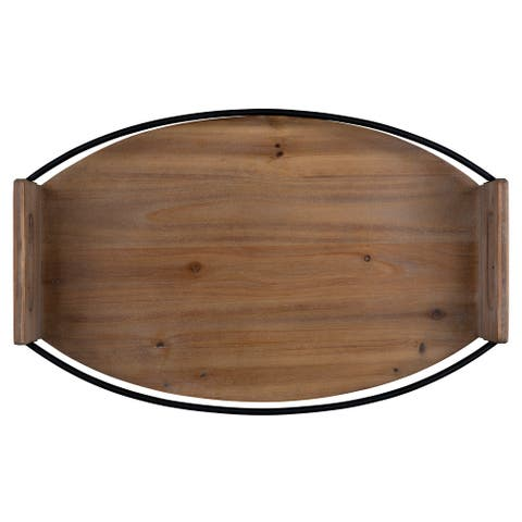 """Rustic Brown Oval Wooden Tray - 3.5""""H x 18.5""""W x 12""""D"""