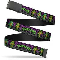Blank Black  Buckle Classic Tmnt Block Turtle Poses Purple Grays Web Belt