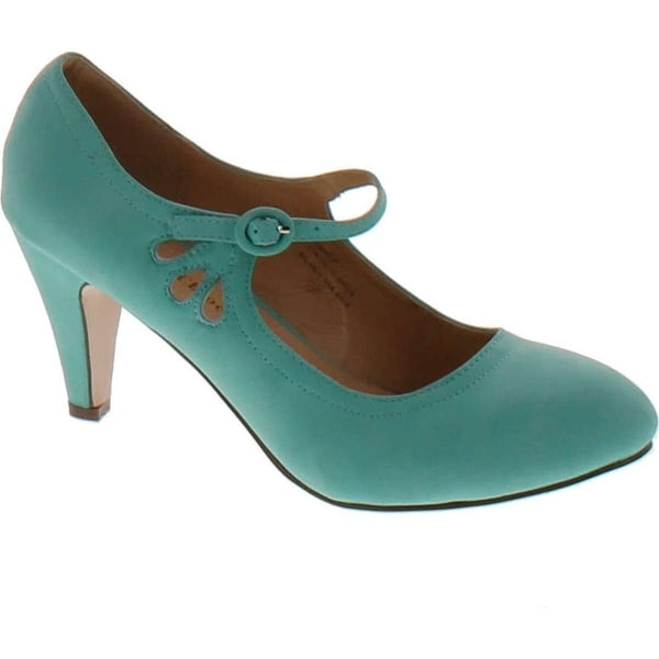 Chase And Chloe Kimmy-21 Mary Jane Teardrop Cutout T-Strap Pump Heel - Mint