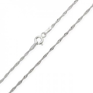 Bling Jewelry .925 Sterling Silver Singapore Chain Necklace Italy