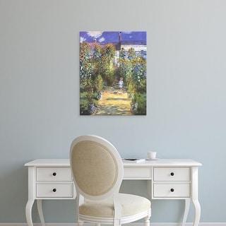 Easy Art Prints Claude Monet's 'Garden of the artist at Vetheuil' Premium Canvas Art