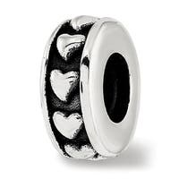 Sterling Silver Reflections Antiqued Hearts Gripper Bead (4.5mm Diameter Hole)
