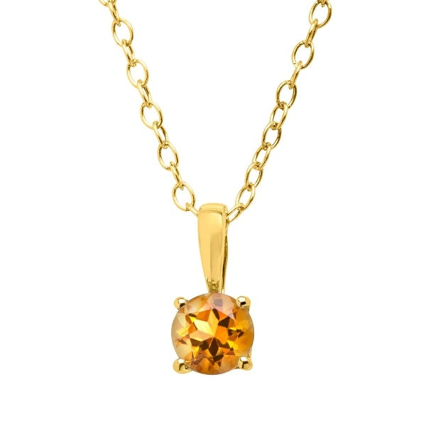 """3/8 ct Natural Citrine Pendant in 10K Gold, 16"""" - Yellow"""