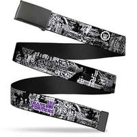 Blank Black  Buckle Transformers Decepticon Tag Black White Purple Web Belt