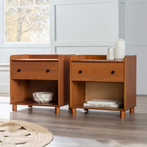 Porch & Den Solid Pine Tray Top 1-Drawer Nightstands, Set of 2