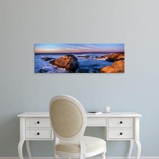 Easy Art Prints Panoramic Image 'Rocky coastline at sunset, Montana de Oro  Park, Morro Bay, California' Canvas Art