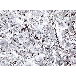 "Pack Of 1, Solid White & Silver Crinkle Cut Paper Shred (Spring Fill / Zig Fill) 1/8"" Wide 10 Lb Made In Usa"