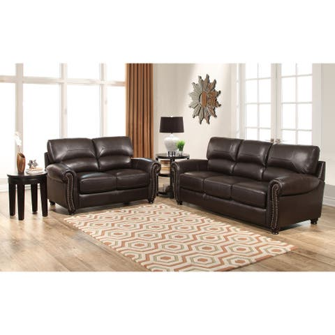 Abbyson Monaco Brown Top Grain Leather Sofa and Loveseat