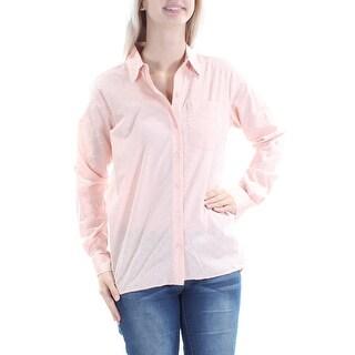 MICHAEL KORS $88 Womens New 1512 Pink Textured Cuffed Button Up Top XS B+B