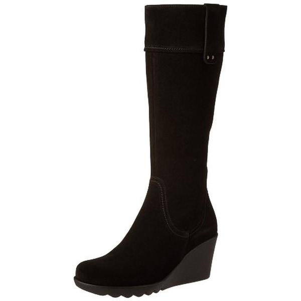 La Canadienne Womens Berkley Wedge Boots Suede Knee-High