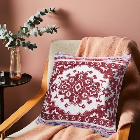 Boho Bordered Medallion Mosaic Textile Throw Pillow